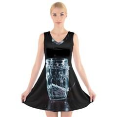 Glass Water Liquid Background V-Neck Sleeveless Skater Dress