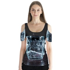 Glass Water Liquid Background Butterfly Sleeve Cutout Tee
