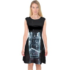 Glass Water Liquid Background Capsleeve Midi Dress