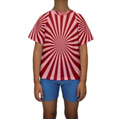 Sun Background Optics Channel Red Kids  Short Sleeve Swimwear