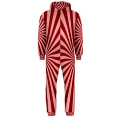 Sun Background Optics Channel Red Hooded Jumpsuit (men)