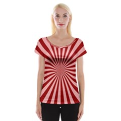 Sun Background Optics Channel Red Cap Sleeve Tops