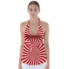 Sun Background Optics Channel Red Babydoll Tankini Top