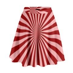 Sun Background Optics Channel Red High Waist Skirt