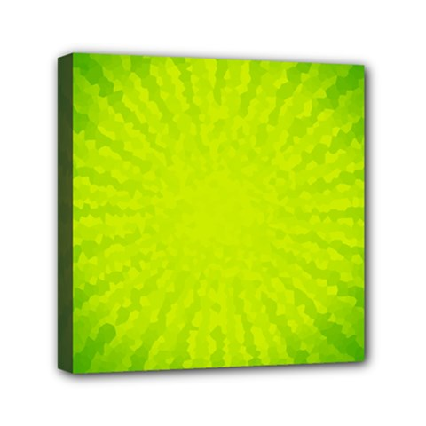 Radial Green Crystals Crystallize Mini Canvas 6  x 6
