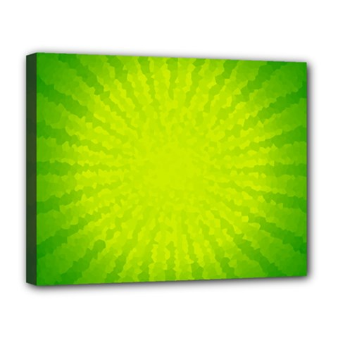 Radial Green Crystals Crystallize Canvas 14  x 11