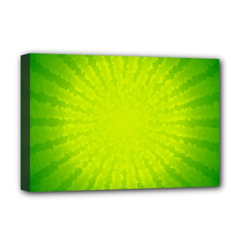 Radial Green Crystals Crystallize Deluxe Canvas 18  x 12