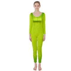 Radial Green Crystals Crystallize Long Sleeve Catsuit