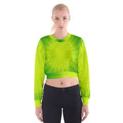 Radial Green Crystals Crystallize Cropped Sweatshirt