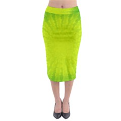 Radial Green Crystals Crystallize Midi Pencil Skirt