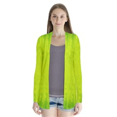 Radial Green Crystals Crystallize Drape Collar Cardigan