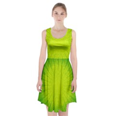 Radial Green Crystals Crystallize Racerback Midi Dress