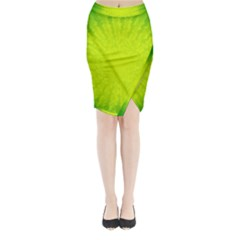 Radial Green Crystals Crystallize Midi Wrap Pencil Skirt