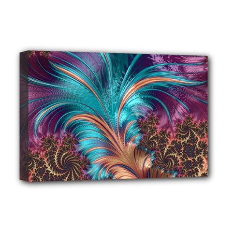 Feather Fractal Artistic Design Deluxe Canvas 18  X 12