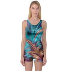 Feather Fractal Artistic Design One Piece Boyleg Swimsuit