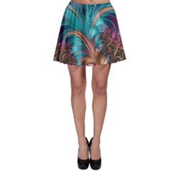 Feather Fractal Artistic Design Skater Skirt