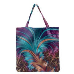 Feather Fractal Artistic Design Grocery Tote Bag