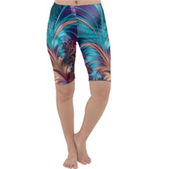 Feather Fractal Artistic Design Cropped Leggings