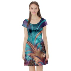 Feather Fractal Artistic Design Short Sleeve Skater Dress