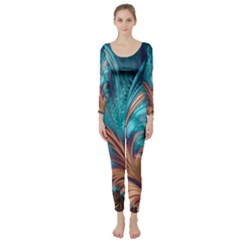 Feather Fractal Artistic Design Long Sleeve Catsuit