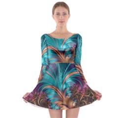 Feather Fractal Artistic Design Long Sleeve Skater Dress