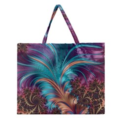 Feather Fractal Artistic Design Zipper Large Tote Bag