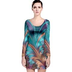 Feather Fractal Artistic Design Long Sleeve Velvet Bodycon Dress