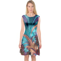Feather Fractal Artistic Design Capsleeve Midi Dress