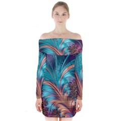Feather Fractal Artistic Design Long Sleeve Off Shoulder Dress