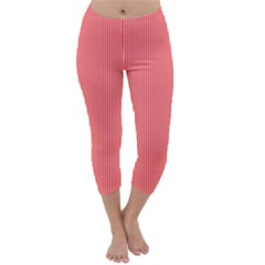 Christmas Red Velvet Mini Gingham Check Plaid Capri Winter Leggings