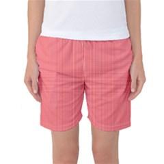 Christmas Red Velvet Mini Gingham Check Plaid Women s Basketball Shorts