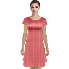 Christmas Red Velvet Mini Gingham Check Plaid Cap Sleeve Nightdress