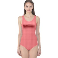 Christmas Red Velvet Mini Gingham Check Plaid One Piece Swimsuit