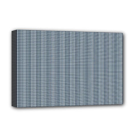 Silent Night Blue Mini Gingham Check Plaid Deluxe Canvas 18  x 12
