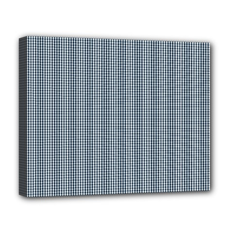 Silent Night Blue Mini Gingham Check Plaid Deluxe Canvas 20  x 16