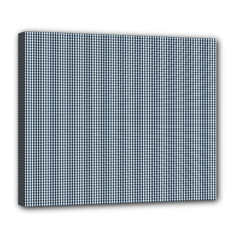 Silent Night Blue Mini Gingham Check Plaid Deluxe Canvas 24  x 20