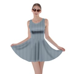 Silent Night Blue Mini Gingham Check Plaid Skater Dress