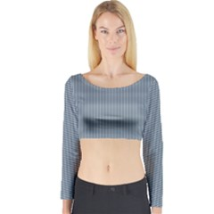 Silent Night Blue Mini Gingham Check Plaid Long Sleeve Crop Top