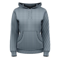 Silent Night Blue Mini Gingham Check Plaid Women s Pullover Hoodie