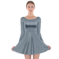 Silent Night Blue Mini Gingham Check Plaid Long Sleeve Skater Dress