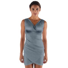 Silent Night Blue Mini Gingham Check Plaid Wrap Front Bodycon Dress