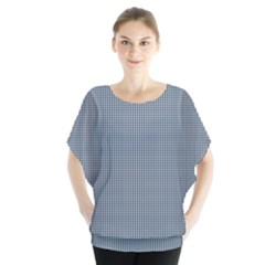 Silent Night Blue Mini Gingham Check Plaid Blouse