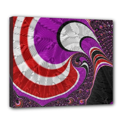 Fractal Art Red Design Pattern Deluxe Canvas 24  X 20