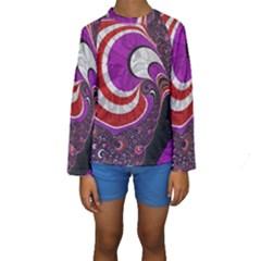 Fractal Art Red Design Pattern Kids  Long Sleeve Swimwear