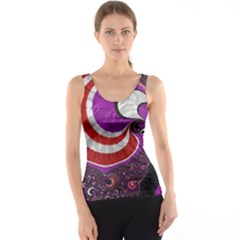 Fractal Art Red Design Pattern Tank Top
