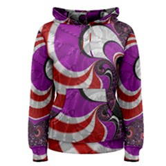 Fractal Art Red Design Pattern Women s Pullover Hoodie