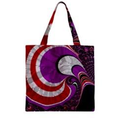 Fractal Art Red Design Pattern Zipper Grocery Tote Bag