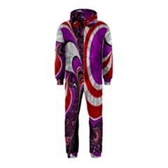 Fractal Art Red Design Pattern Hooded Jumpsuit (kids)