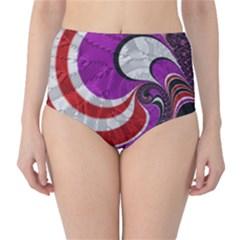 Fractal Art Red Design Pattern High-Waist Bikini Bottoms