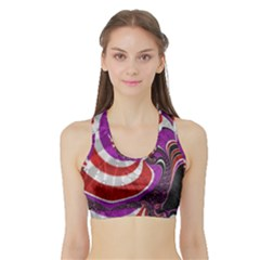 Fractal Art Red Design Pattern Sports Bra with Border